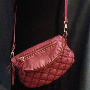 LD Quilted Leather Top Zip Flap Crossbody Purse